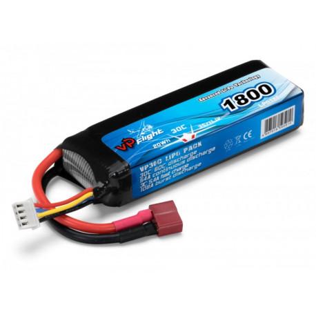 Li-Po Batteri 3S 11,1V 1800mAh 30C T-Kontakt