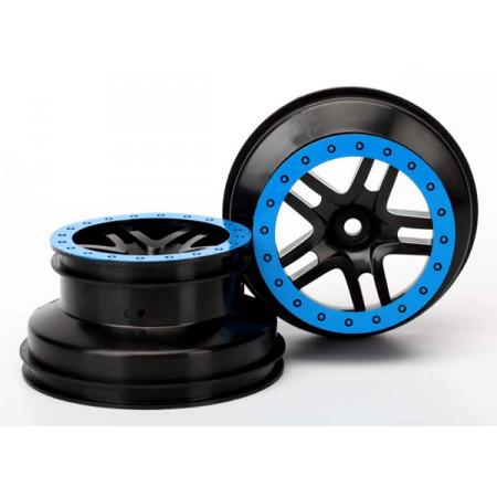 """Fälg SCT Split-Spoke Svart-Blå 2.2/3.0"""" 4WD/2WD Bak (2)"""