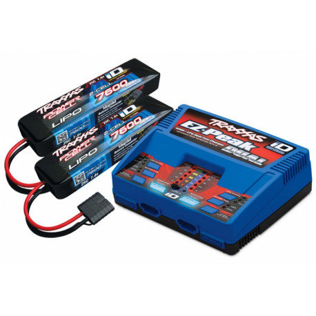 Laddare EZ-Peak Dual 8A och 2 x 2S 7600mAh Batteri Combo