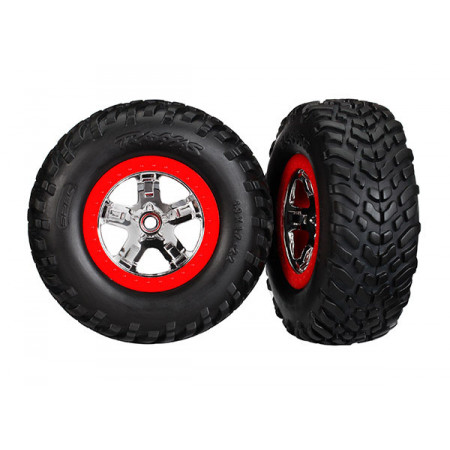 Traxxas 5887R Däck & Fälg SCT S1/SCT Krom-Röd 4WD/2WD Bak TSM (2)