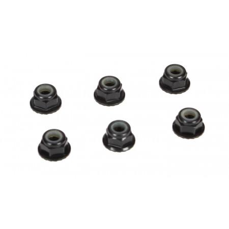4mm Aluminum Serrated Lock Nuts, Black (6)