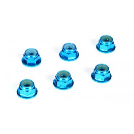 4mm Aluminum Serrated Lock Nuts, Blue (6)