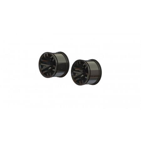 1/10 MT Front/Rear 2.8 Wheels, 14mm Hex, Black Chrome (2)