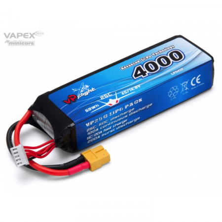 Vapex Li-Po Batteri 4S 14,8V 4000mAh 25C XT60-Kontakt