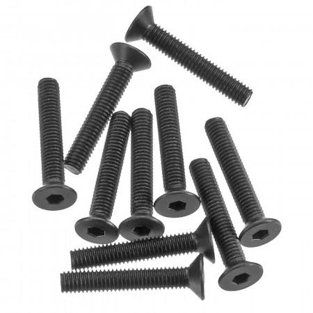 AXA148 Hex Socket Flat Head M3x18mm Black (10)
