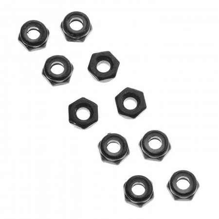 AXA1052 Thin Nylon Locking Hex Nut M3 Black (10)